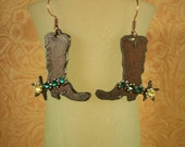 Cowgirl Earrings Steel Cowboy Boots with Crystal Spur Straps