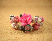 Cowgirl Day of the Dead Bracelet - Howlite Sugar Skulls with Lampwork Beads no. 55