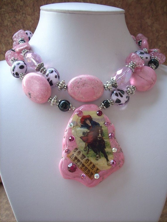 Chunky Pink Turquoise Cowgirl Attitude Necklace Western Style