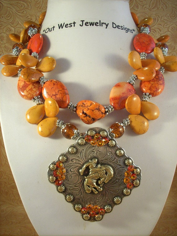 RESERVED Cowgirl Necklace Set - Chunky Orange Howlite Turquoise and Bucking Horse Concho Pendant