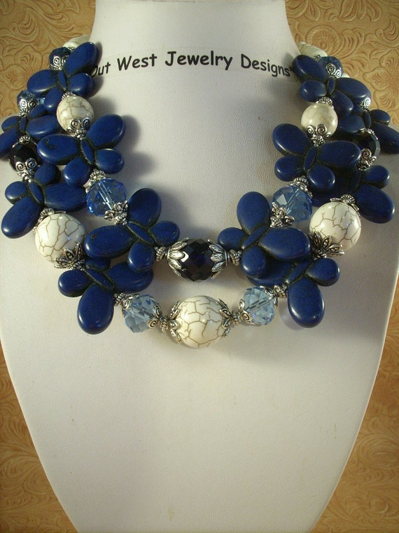 Cowgirl Necklace Set - Dark Blue Howlite Turquoise Butterflies with Crystal