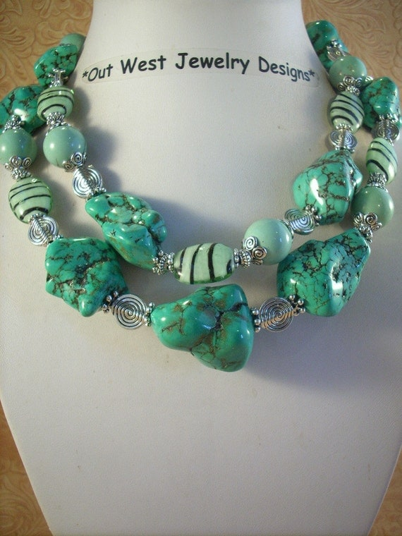 Chunky Cowgirl Necklace Set - Howlite Turquoise Nuggets with Lampwork Beads