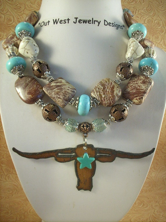 Cowgirl Necklace Set - Jasper and Howlite Turquoise Nuggets with a Texas Longhorn Pendant