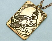 Cockatoo Etched Brass Pendant Necklace