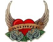 B51 Tattoo Heart & Wings - 'Sweetheart'  // Laser Cut Acrylic Pendant Charm
