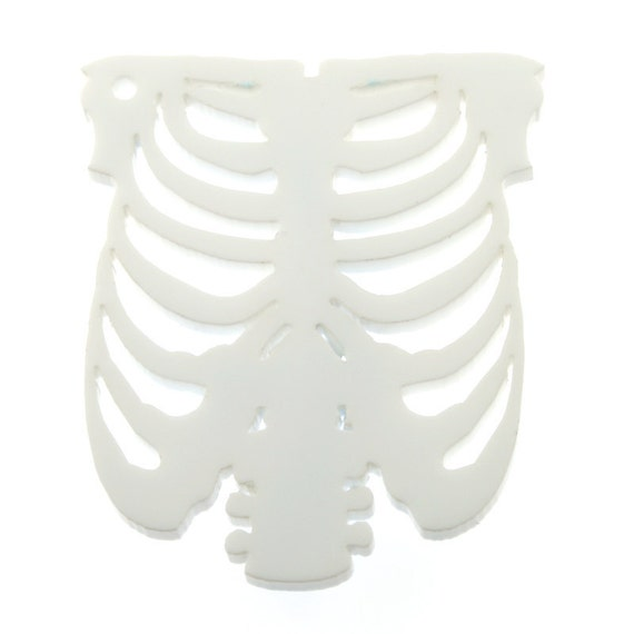 A61 Rib Cage WHITE Laser Cut Acrylic Pendant  *****STOCK CLEARANCE*****