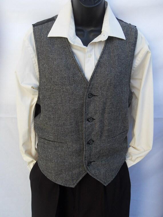 Men's Vintage Waistcoat Vest Small Grey and Black Tweed