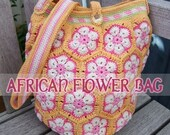 English crochet pattern for African Flowers Bag