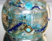 Turquoise, Beach Shells, Sea Turtle in Resin Bangle