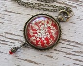 Real Pressed Flower Necklace - Romantic Red and Antique Brass Queen Annes Lace Vintage Inspired Necklace