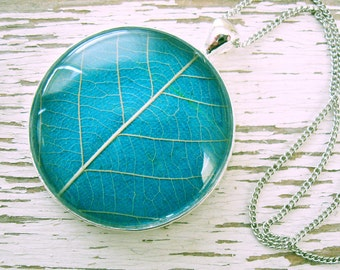 Turquoise and Silver Leaf Necklace