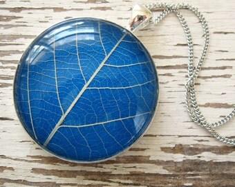 Real Leaf Necklace - Sky Blue and Silver Leaf Necklace
