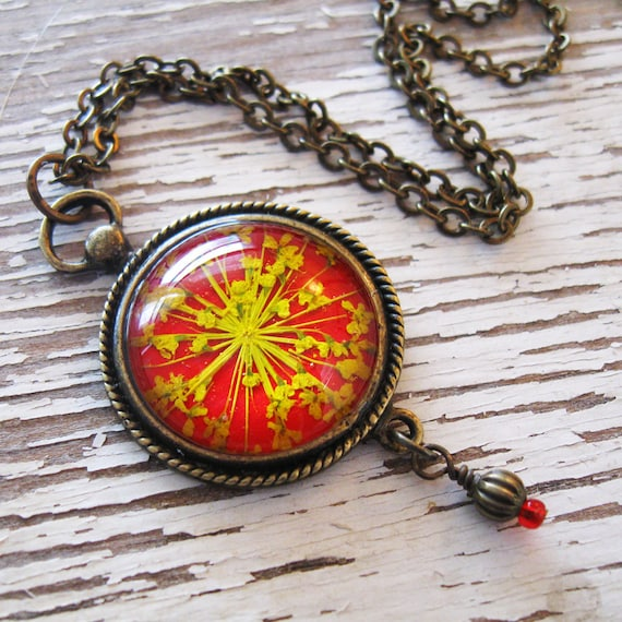 Real Pressed Flower Necklace - Red and Yellow Queen Annes Lace Vintage Inspired Necklace in Antique Brass