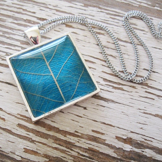 Turquoise and Silver Square Leaf Necklace