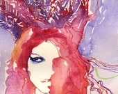 Print of Watercolor Fashion Illustration. Titled: Kate