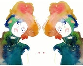 Print of Watercolor Fashion Illustration. Titled - Model ink 5 twins