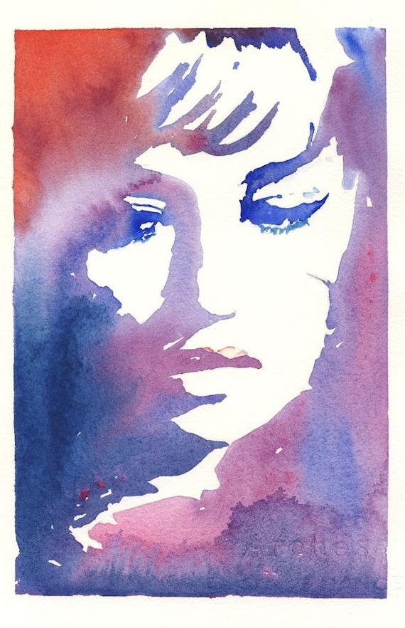 Fashion Illustration Print, Watercolor Fashion Illustration Print, Fashion Sketch, Jeanne Moreau, Fashion Poster, Fashion Wall Art, Giclee