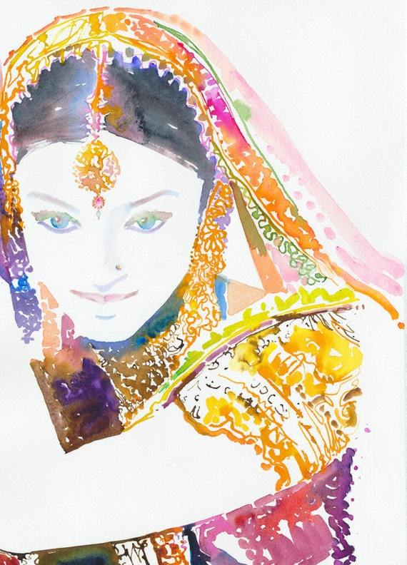 Indian Bride Print, Indian art, Indian costume,  Indian woman print, Watercolor Fashion Illustration Print, Aishwarya, Woman in sari print
