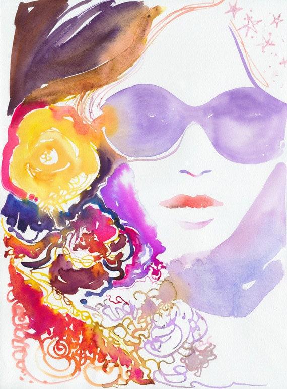 Fashion Illustration, Watercolor Fashion Print, Fashion sketch, Fashion wall art, Fashion poster, Sunglass illustration, Summer Fashion Art