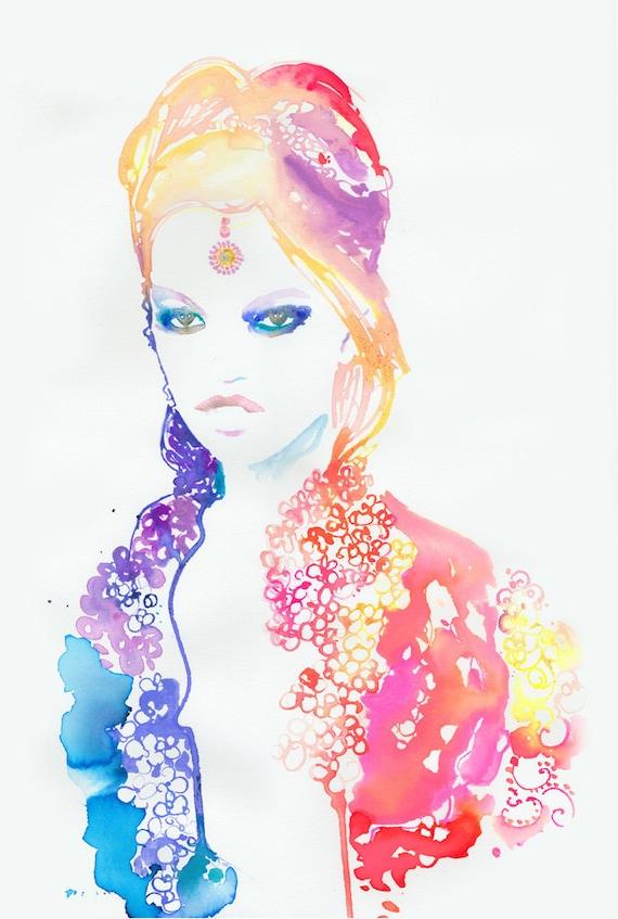 Original Watercolour Fashion Illustration. Titled:  Chanel 2012 Paris Bombay 3