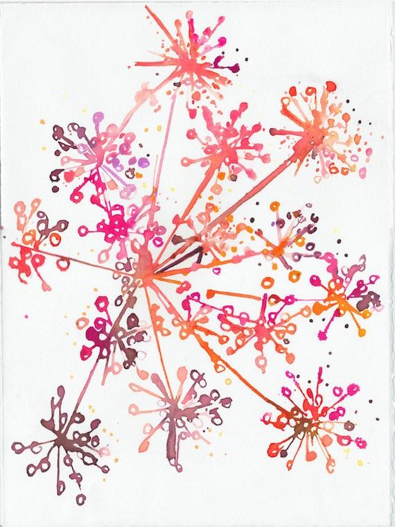 Watercolor Illustration - garden series - anise in orange
