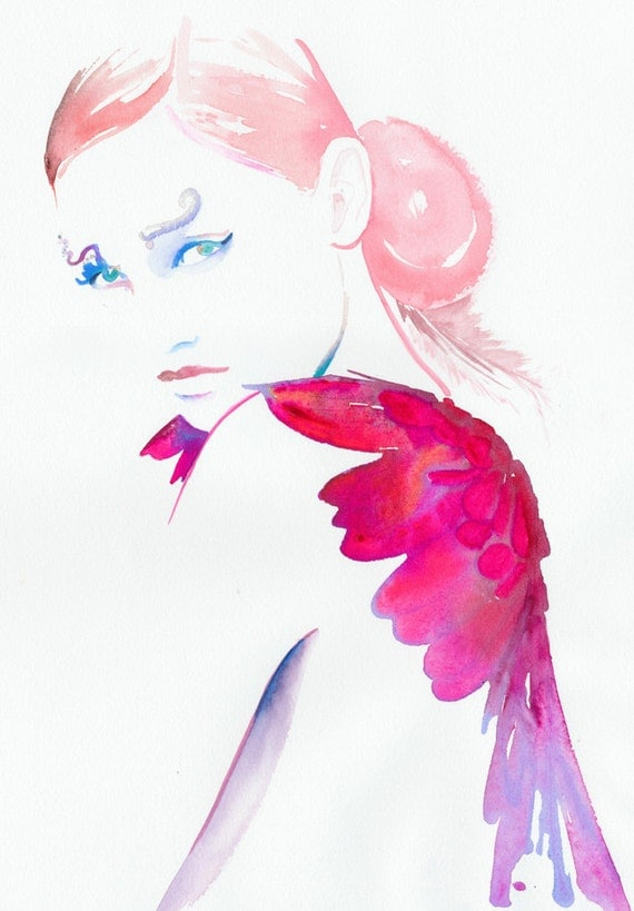 Fashion Illustration, Watercolor Original Painting, Watercolour Fashion Illustration - Titled: Petit Diable
