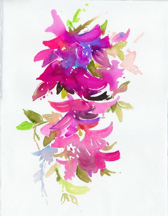 Watercolor Illustration - garden series - Bougainvillea impressions