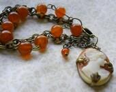 Cameo Bracelet, Dark Gold Cameo Bracelet, Vintage Style Cameo Bracelet, Cameo Jewelry, Dark Gold Bracelet