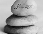 "Namaste Poster, ""YOGA ART PRINT"", Gratitude Stone, Zen Decor, Meditation Art, Gratitude Stone, Spirituality Print, Inspirational Art"