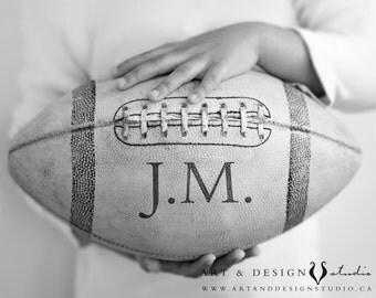 Monogram Art Print Boys, Sports Print, Vintage Football Wall Art, Monogram Football, Personalized Art Prints, Monogram Print, Football Decor