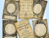Vintage Paris Tags ATC Labels Digital Frames Printable Gift Tags Digital Collage Sheet Instant Download