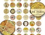 Paris Antique Maps, 1 inch Circles - Printable Vintage French Paris Map Download