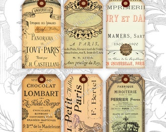 Printable French Ephemera, Paris Gift Tags, Collage Sheet, Digital Gift Tags, Instant Download