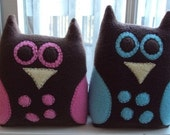 Twin Owl Plushies with Speckled Tummy - Blue and Pink Polka Dot Owls- His and Her Owls