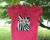 Hot Pink Zebra Owl Shirt - Baby Girl Owl Shirt - Fleece Owl Shirt - 1st Birthday Shirt