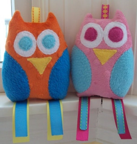 Owl Sensory Toy - You Pick 2 - Crinkle or Squeak