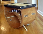 upcycled bass drum and used drumsticks side/coffee table ... the donny