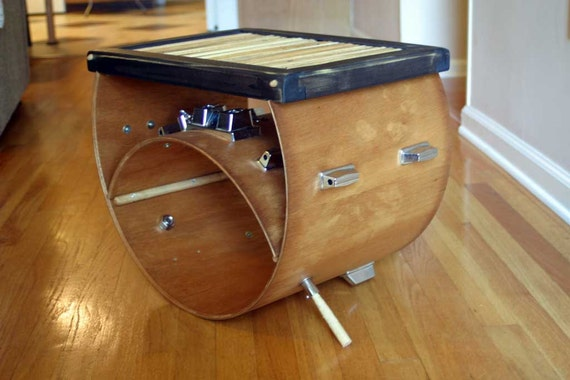 Upcycled Bass Drum And Used Drumsticks Side Coffee Table