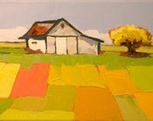 Simple Things II- 6x8 Original Oil Painting on Canvas, Barn Landscape with Quilt
