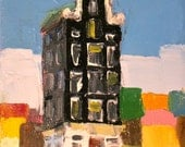 Oil Painting- One Patchwork House- 6x8 Original on Canvas- Sale Price