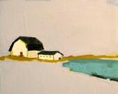 Promise of Living- 8x8 Original Oil Painting on Canvas- White Barn, Landscape, Lake, Pond