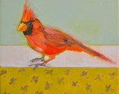 Cardinal II- 8x8 Original Oil Painting on Canvas- Bird, Sky, Blue, Red