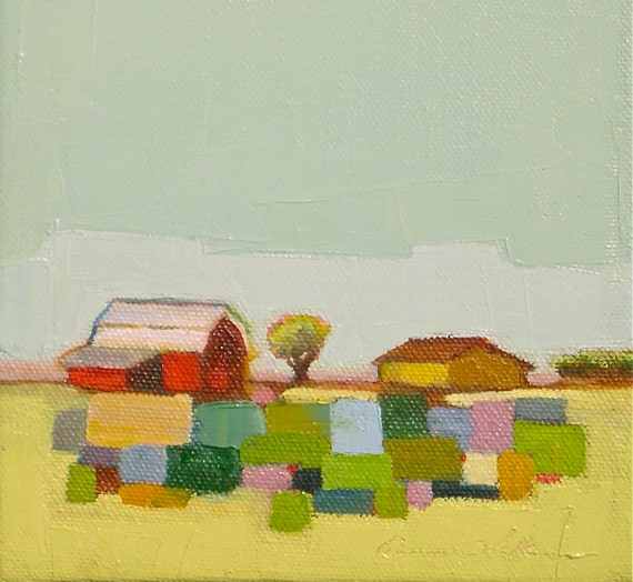 "Reserved For Walthamgirl- Little Quilt- 6"" x 8"" Original Oil Painting on Canvas"