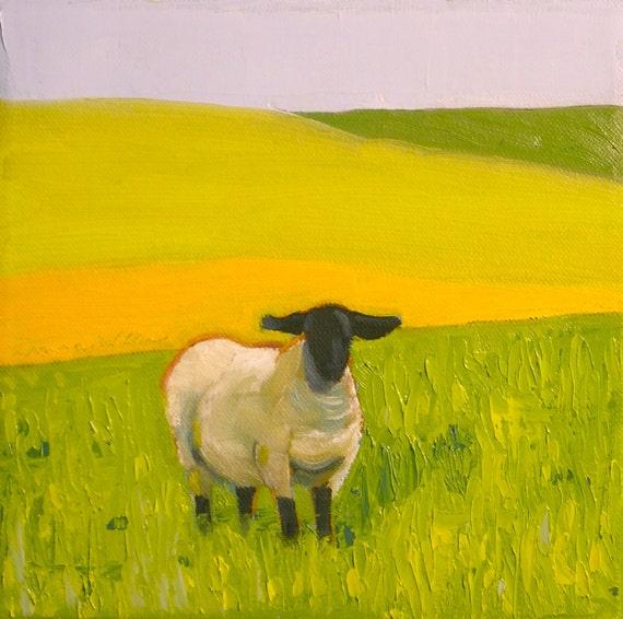 Original Sheep Oil Painting on Canvas- 8x8 Roaming- Pasture Landscape