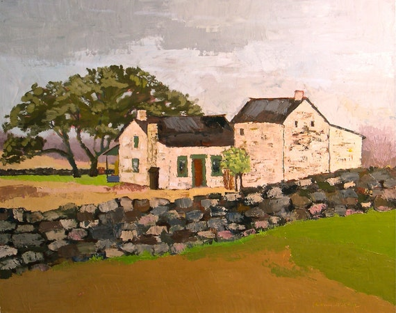 Old Stone Farmhouse- 24x30 Original Oil Painting on Canvas- White Barn    Old Farmhouse Painting