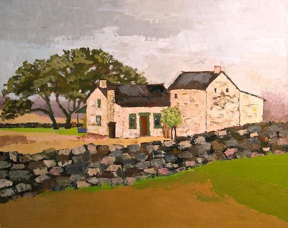 Old Stone Farmhouse- 24x30 Original Oil Painting on Canvas- White Barn, Farm, Landscape, Sale Price