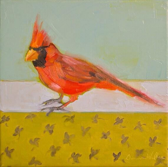 Cardinal II- 8x8 Original Oil Painting on Canvas- Bird, Sky, Blue, Red