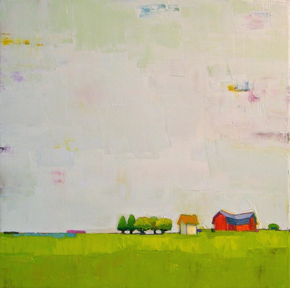 The Gift to Be Simple II- 12x12 Original Oil Painting on Canvas- Farmhouse, Red Barn