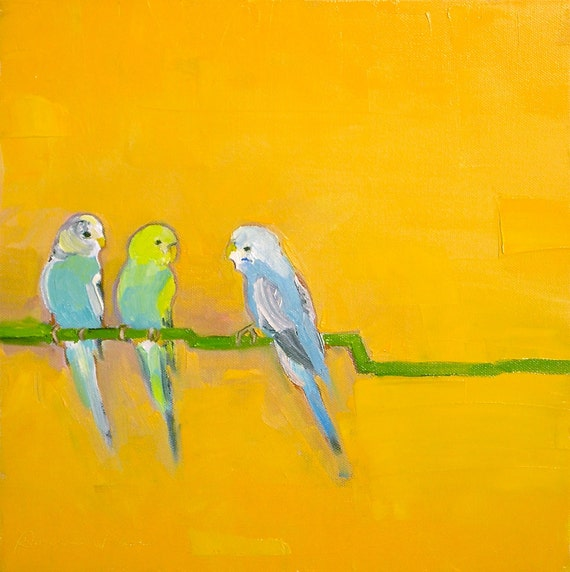 Let's Talk- 12x12 Original Oil Painting on Canvas-  Bird, Orange, Parakeet