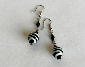 Earrings Zebra pattern long dangle drop earrings